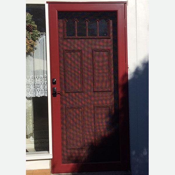 red full view storm door and red entry door