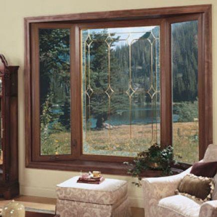 3 Panel Bow Window with Wood Veneer