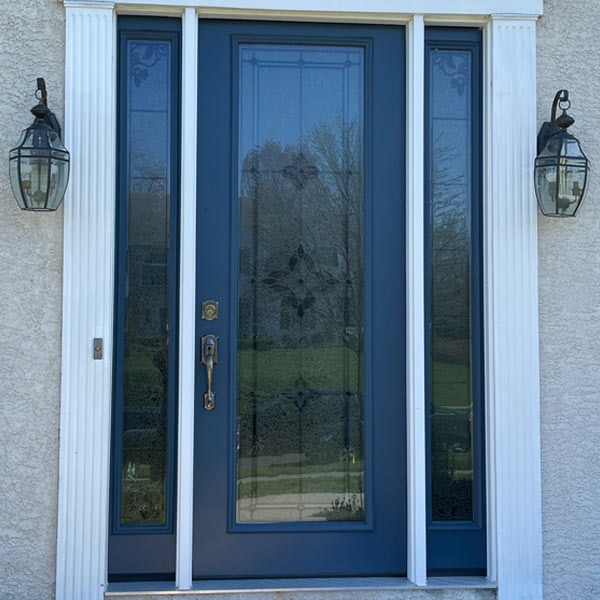blue entry door with sidelites in plymouth meeting