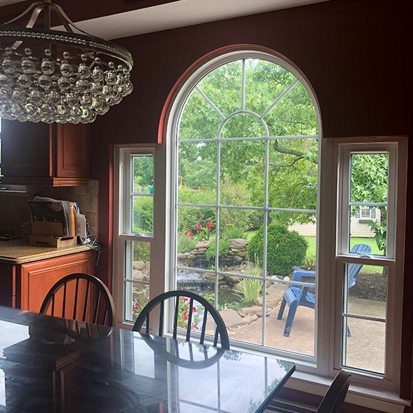 decorative white center window with double hung side windows in norristown pa