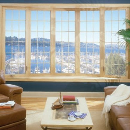 5 Panel Bow Window with Wood Veneer